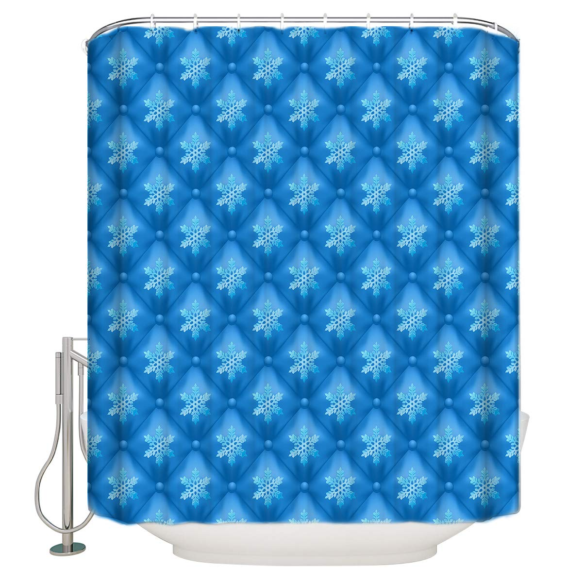 6d33e56c Amazon.com: TweetyBed Christmas Background Blue White Snowflake Water- Repellent and Mildew-Resistant Fabric Shower Curtain Bathroom Decorations  Stall Size ...