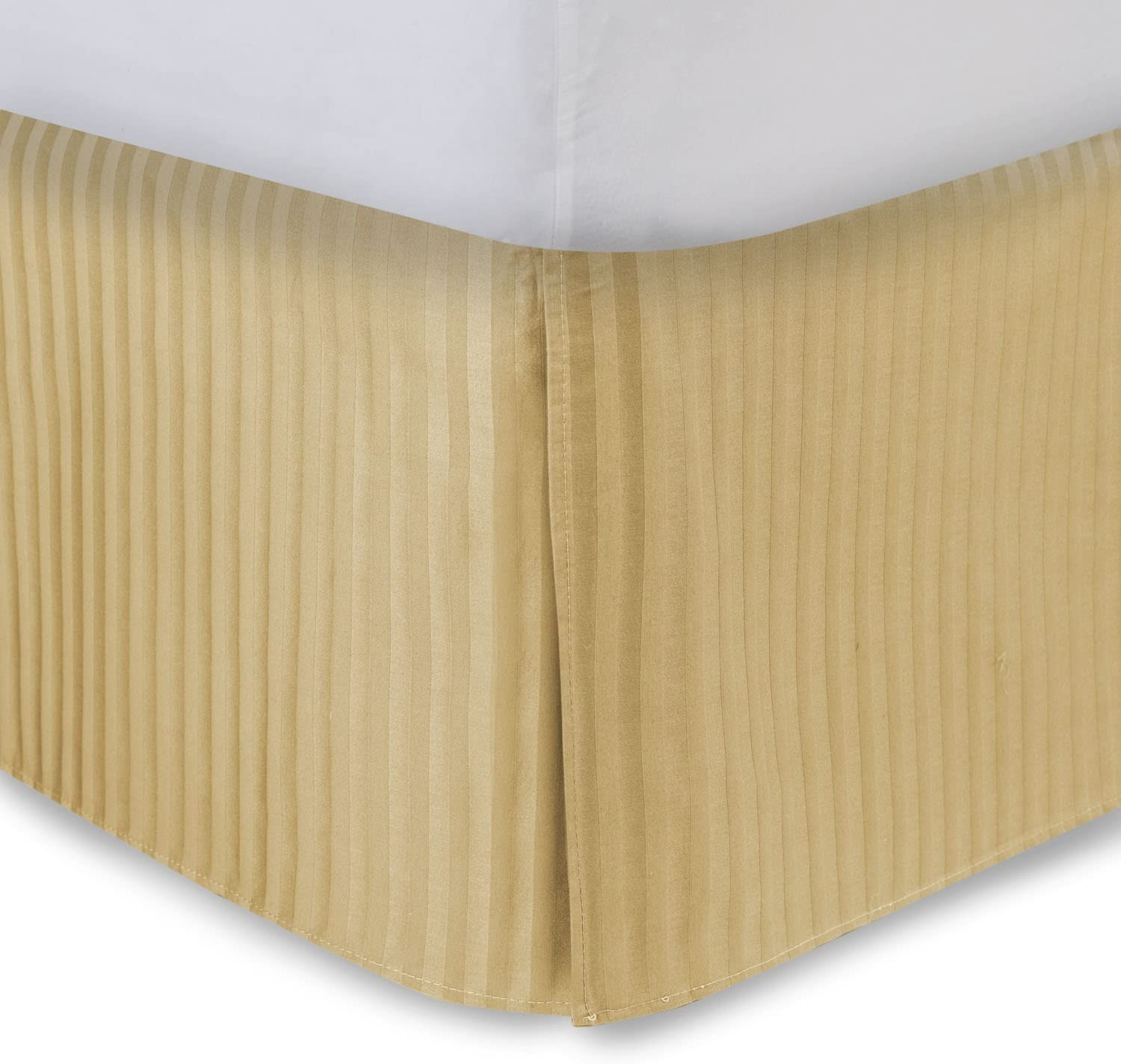 Gold Bed Skirt Olympic Queen Bed Skirt 18 Inch Drop, Tailored/Pleated Striped Bedskirt, Dust Ruffle with Split Corners and Platform, Solid Poly/Cotton 300TC Fabric