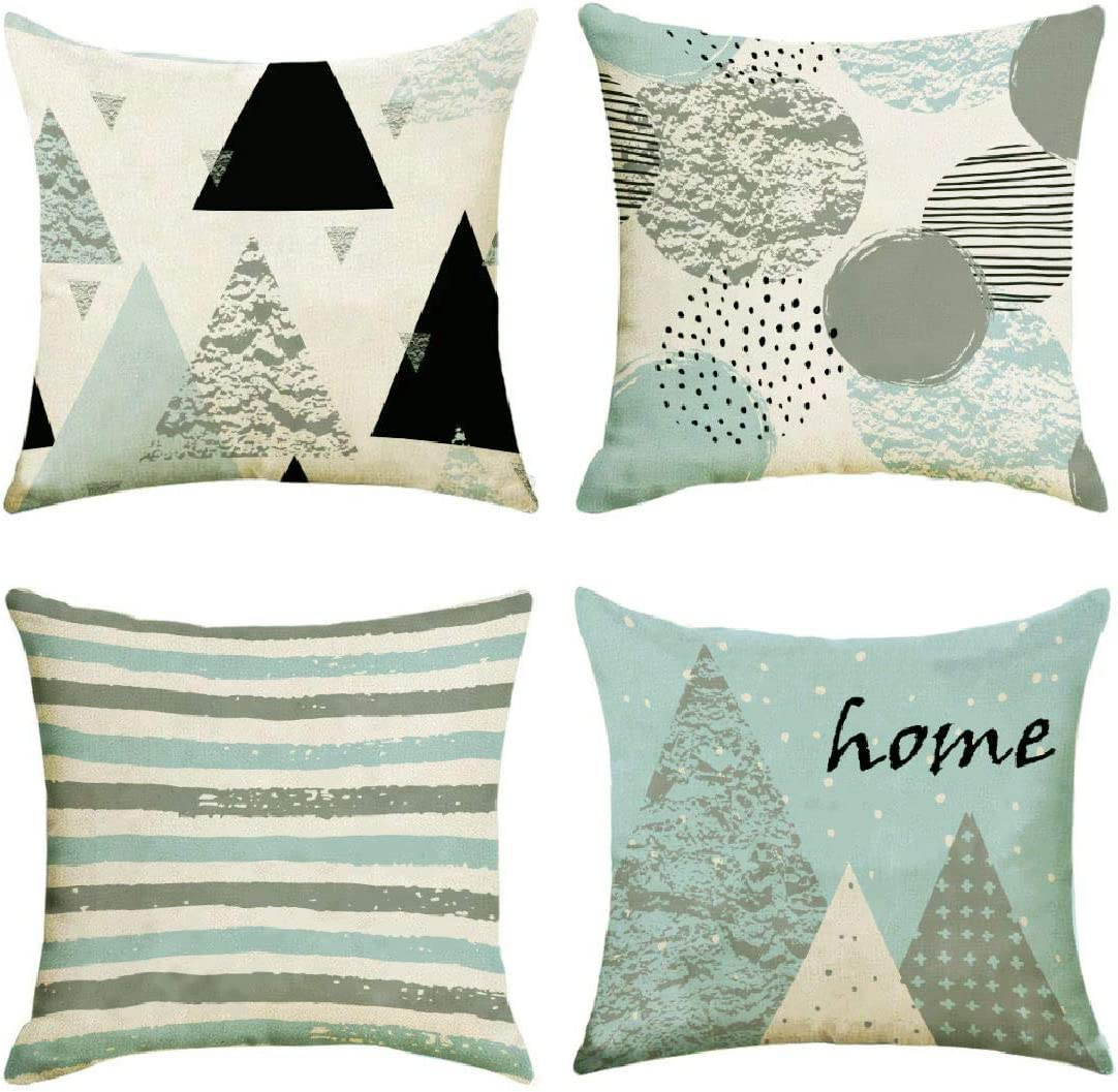 Alricc Stylish Cotton Linen Sofa Pillow Covers,18 x 18 Inch Set of 4 Home Decor Couch Pillow Cases,Blue and Grey Abstract Geometry Decoration Modern Throw Pillow Cover for Bedroom Sofa Living Room