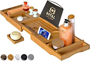 Luxurious Bamboo Bathtub Caddy Tray with Free Soap