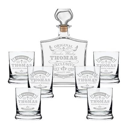 Set de regalo con botella de whisky y vasos con grabado, vidrio, transparente,