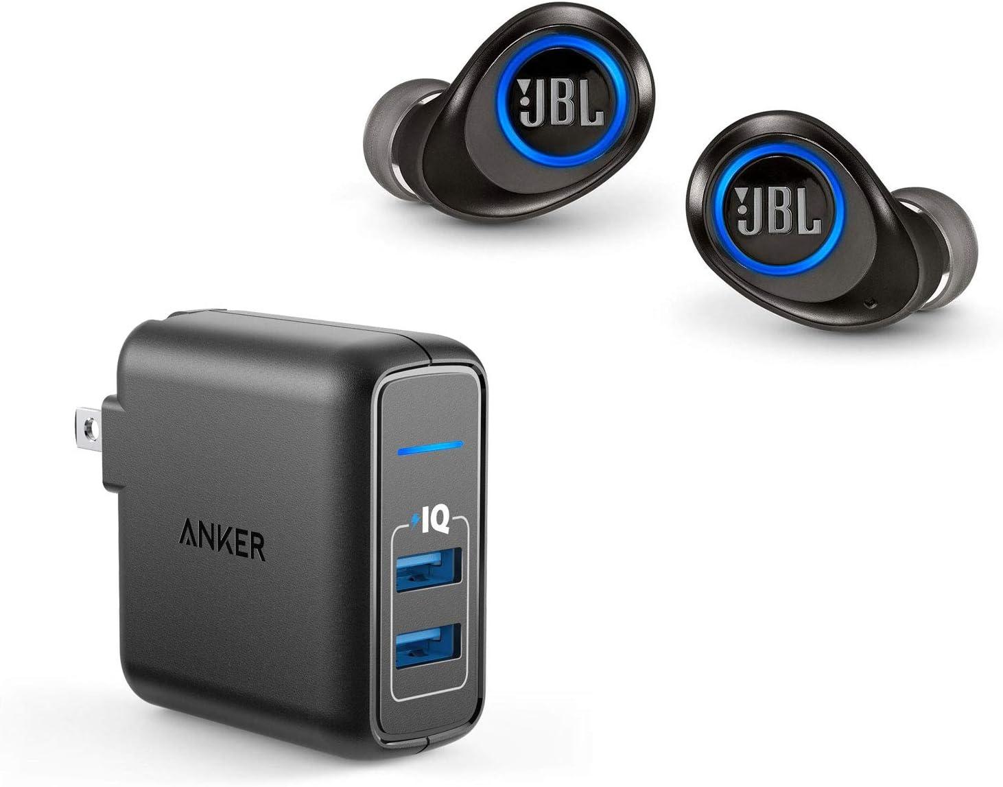 JBL Free X True Wireless in-Ear Bluetooth Headphone Bundle with 2 Port USB Wall Charger - Black