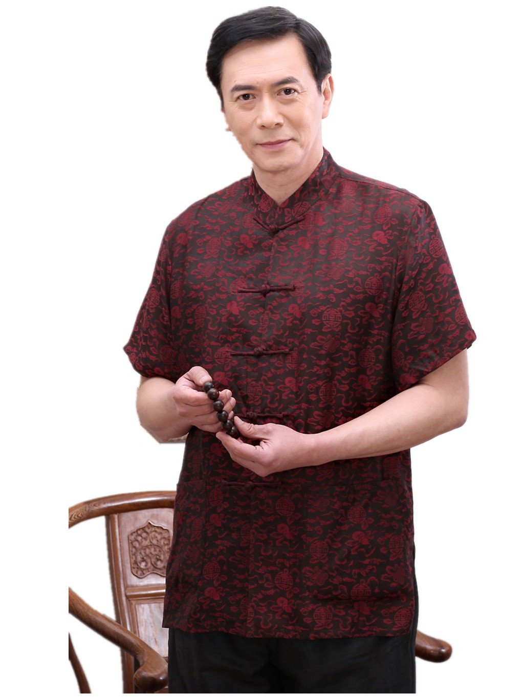High-end Business Shirts Tang Suit Casual Shirts Chinese National Style Mulberry Silk