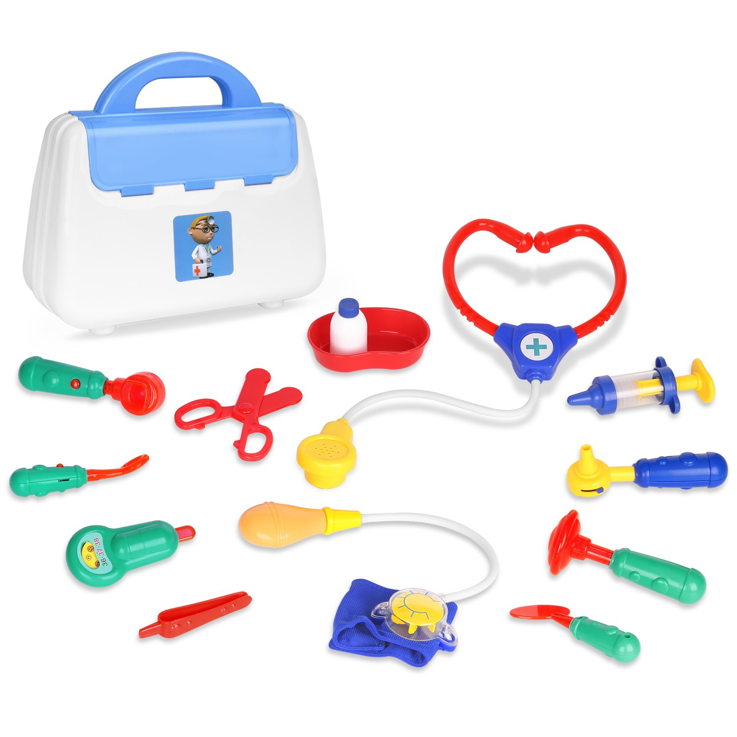 Zooawa Doctor Kits Pretend Play, Doctor and Nurse Set Role Play Toy with Handy Carrying Case for Boys and Girls, Kids and Toddlers Over 3 Years Old, Colorful