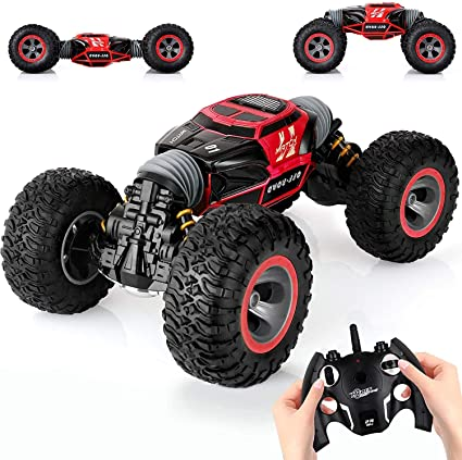 Amazon Com Kingsdragon Remote Control Car 2 4 Ghz High Speed Stunt Rc Racing Cars Rc Rock Crawler W Rechargeable Batteries Indoor Outdoor Motors Vehicles Buggy Hobby Car Toy Gifts For Boys Girls Red Toys Games