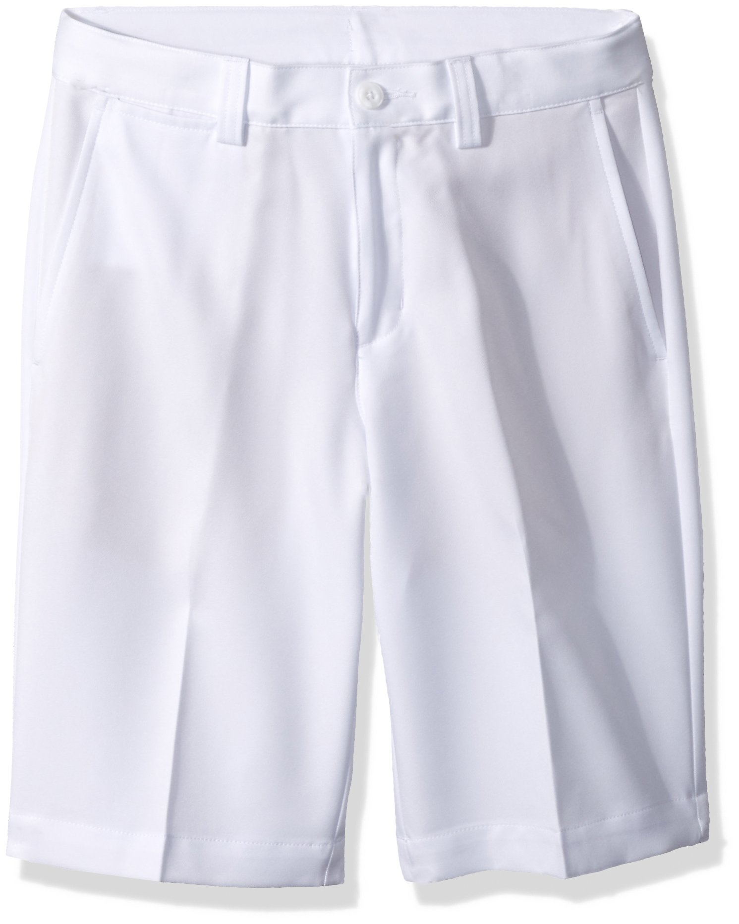 PGA TOUR Big Boy's Comfort Stretch Flat Front Short, Bright White, Large (14-16)