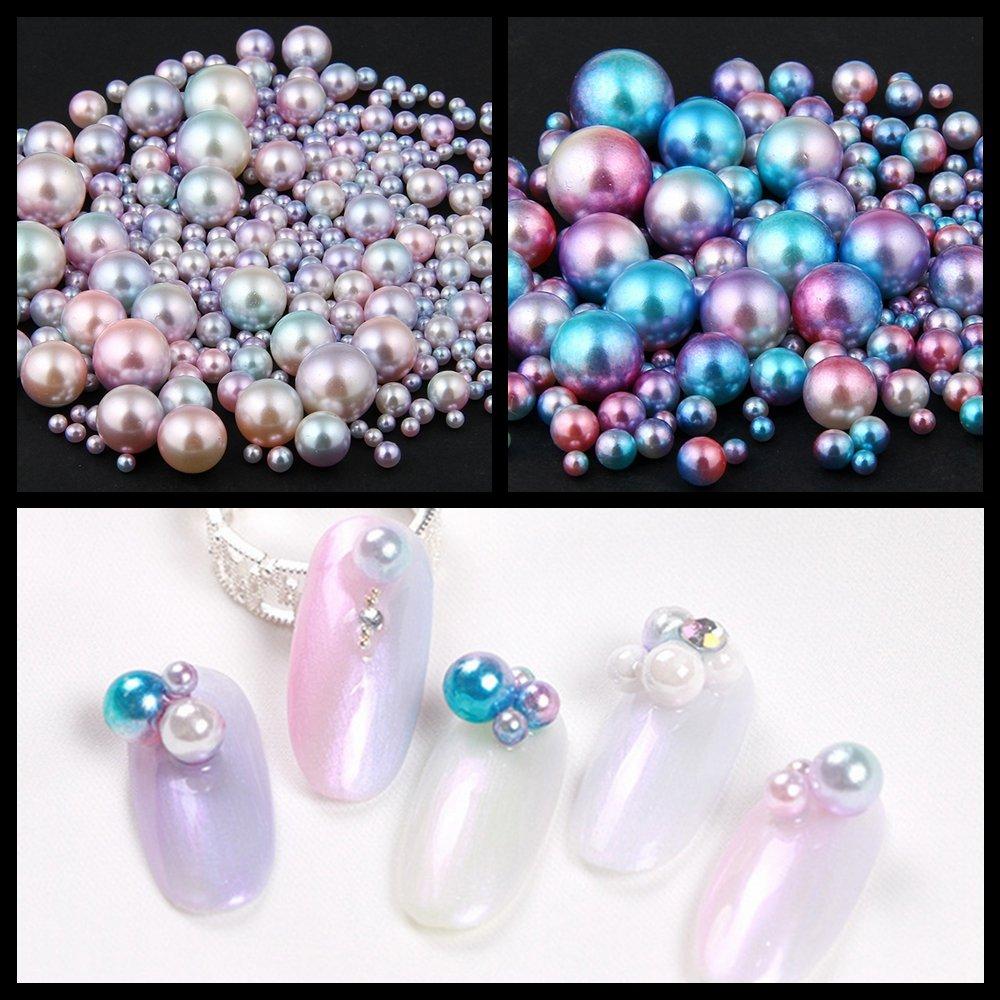 Amazon.com : Nizi Jewelry Nail Art Round Pearls New Blue Rainbow ...