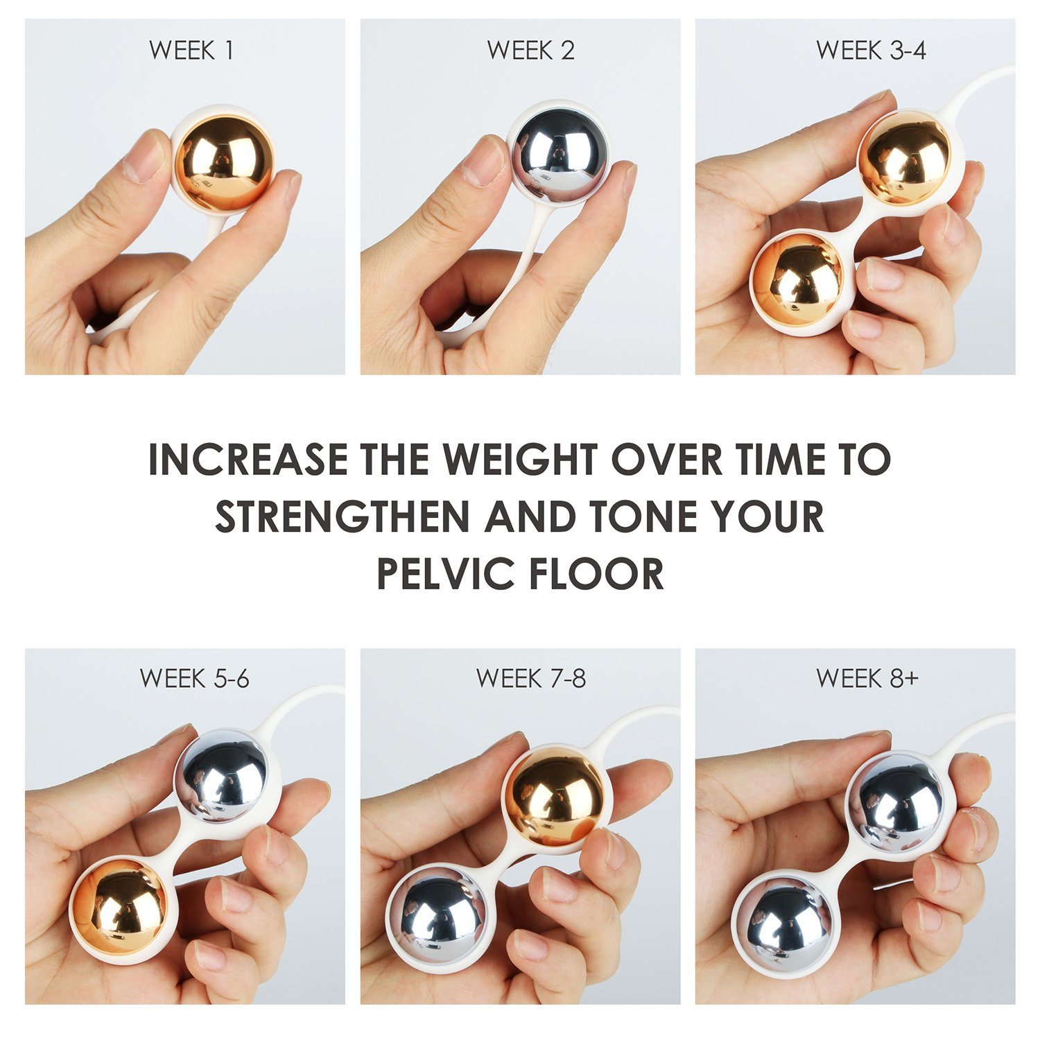 Kegel Balls for Beginner - Nalone Ben Wa Balls Kegel Exercise Weights Kit for Women to Tone and Strengthen your Pelvic Floor Muscle - Metal and Medical Silicone