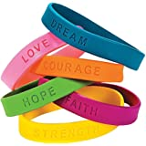 24 Inspirational Sayings Bracelets (Assorted Colors)