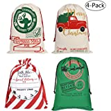 Faylapa 4 Pcs Large Santa Sacks,4 Patterns Canvas Stocking with Drawstrings,Reusable Designs,19.7 X 27.5 Inch Xmas…
