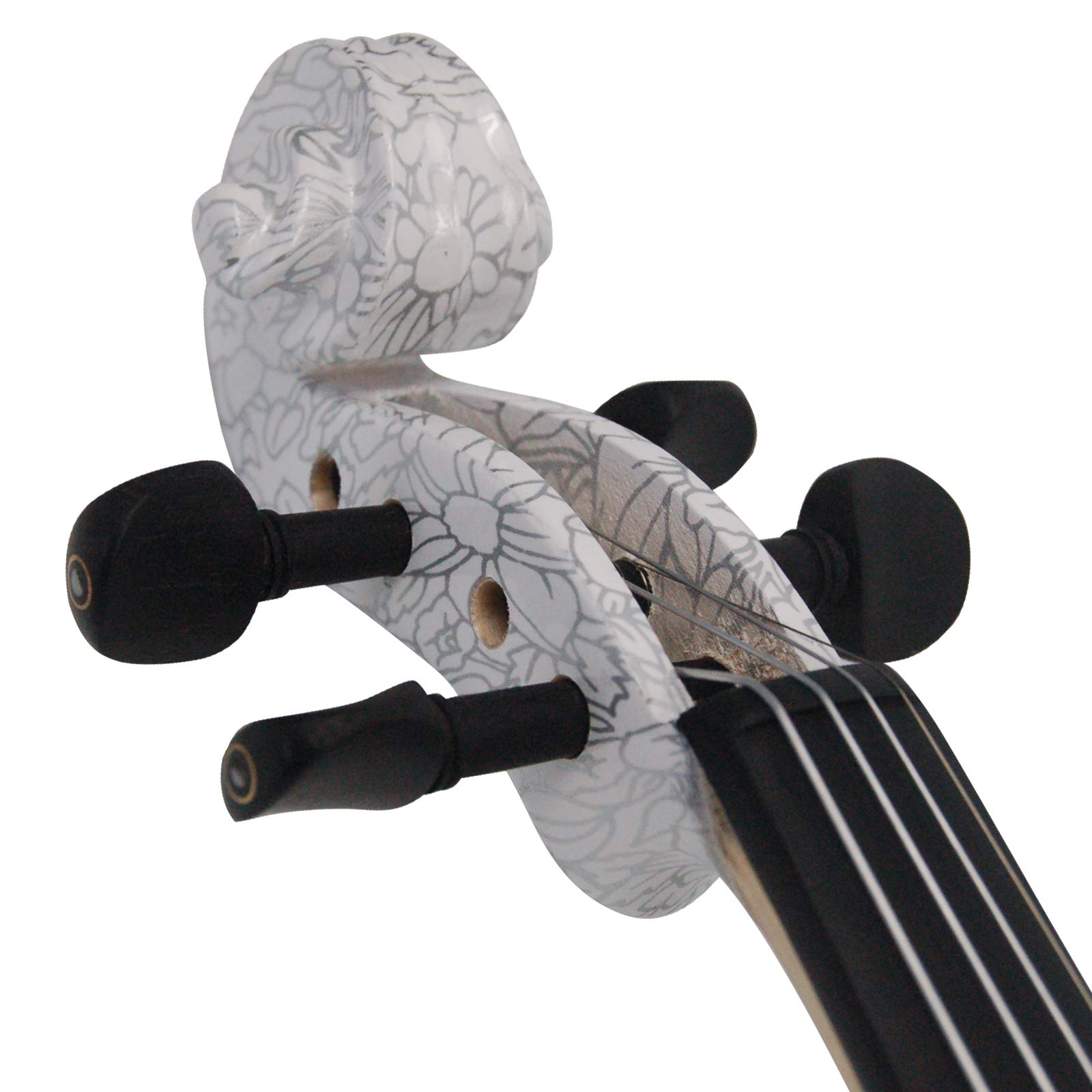 Kinglos 4/4 Butterfly Flower Colored Ebony Fitted Solid Wood Violin Kit with Case, Shoulder Rest, Bow, Rosin, Extra Bridge and Strings Full Size (NHS3002) by Kinglos (Image #6)