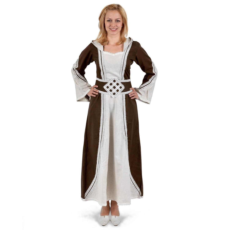 Medieval Dress - Cassandra - Hood & Long Sleeves - Natural/Brown