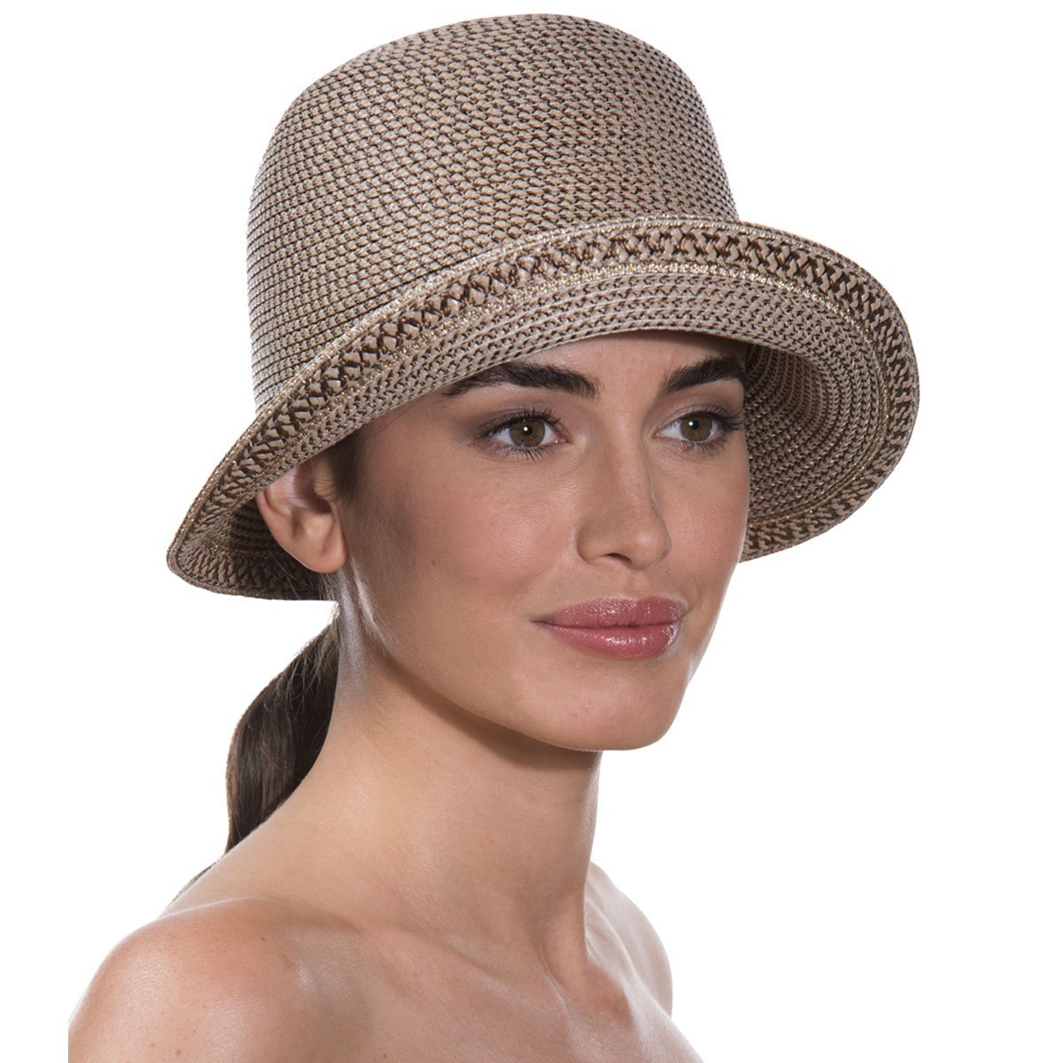 Eric Javits Luxury Fashion Designer Women's Headwear Hat - Squishee Bucket - Bark