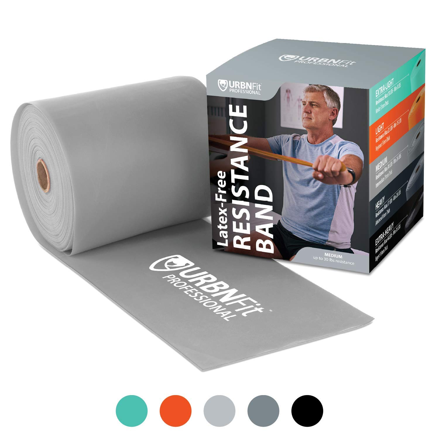 Professional Resistance Bands - 25 Yards (75ft) Latex-Free Elastic Exercise Fitness Band Roll - No Scent, No Powder - Perfect for Physical Therapy & Rehab, Yoga, Pilates (Grey - Medium Heavy .75mm)