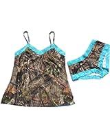 Mossy Oak Womens Country Camo Camisole & Boyshort Set Aqua Lace In Organza Bag