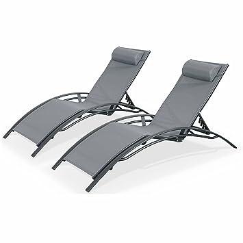 b54e1e184696 Alice's Garden - 2 Aluminium and textilene sun loungers reclining garden chair  beach sun lounger recliner