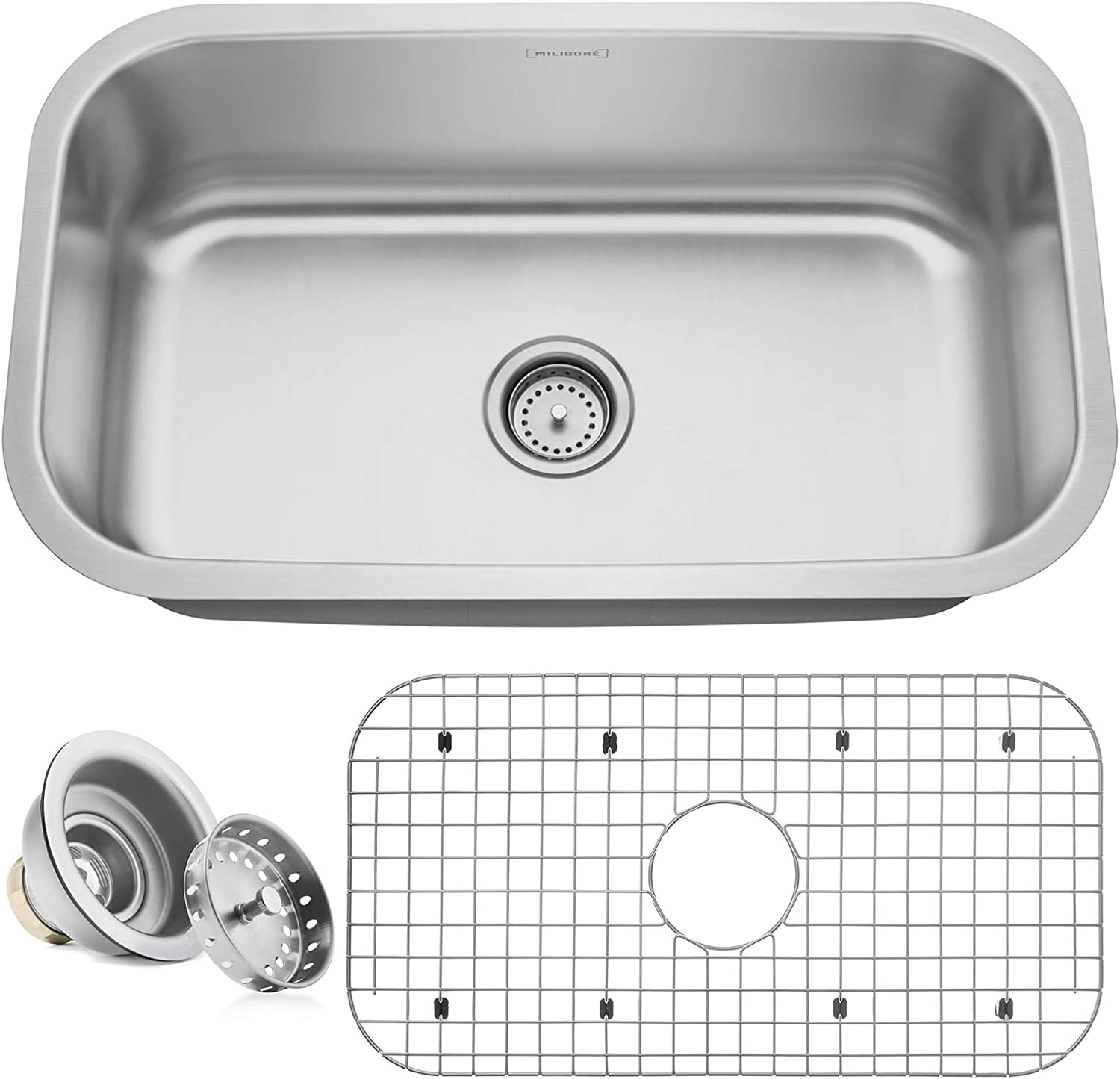 Miligore 30 x 18 x 9 Deep Single Bowl Undermount 16-Gauge Stainless Steel Kitchen Sink – Includes Drain Grid