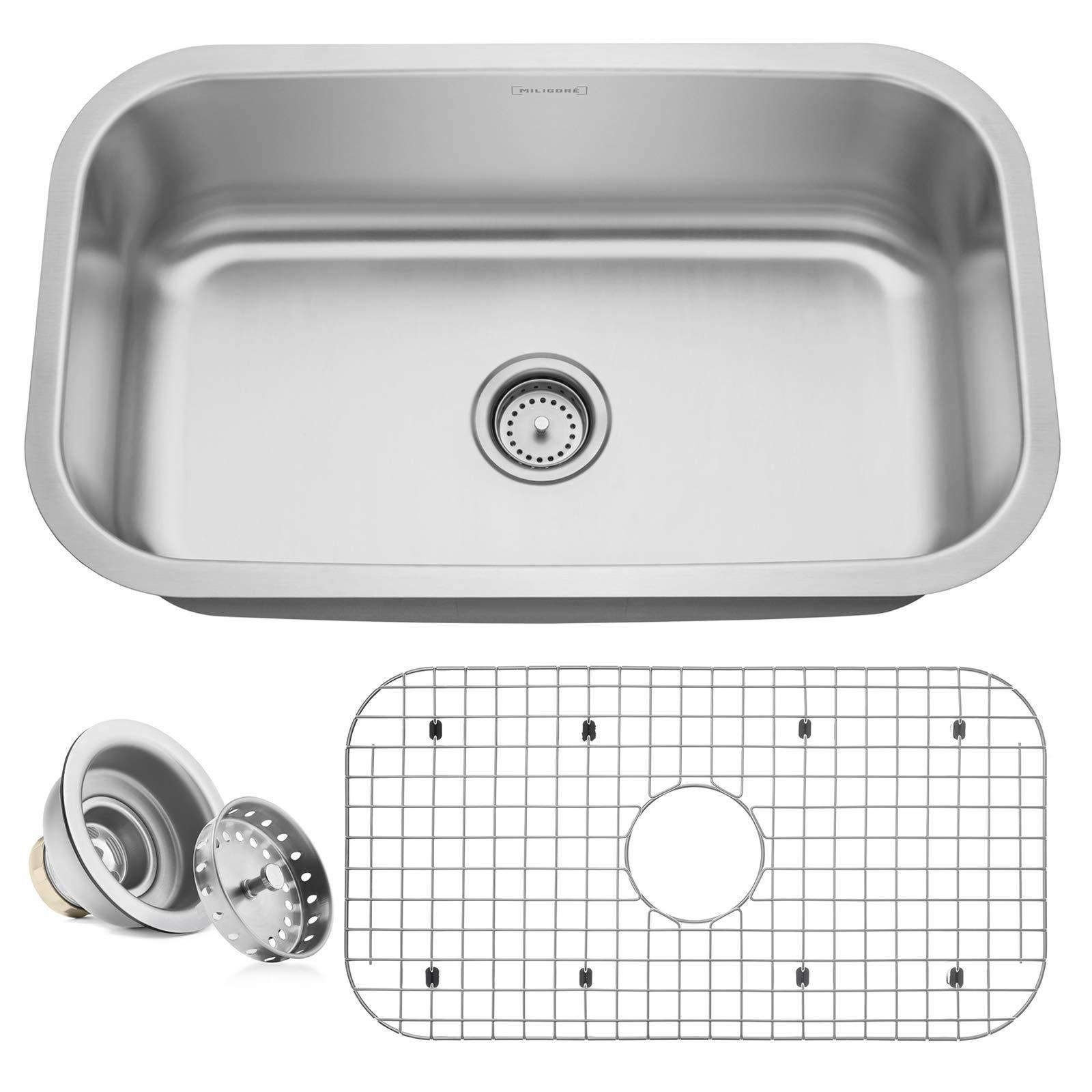 Miligore 30'' x 18'' x 9'' Deep Single Bowl Undermount 16-Gauge Stainless Steel Kitchen Sink - Includes Drain/Grid by Miligore