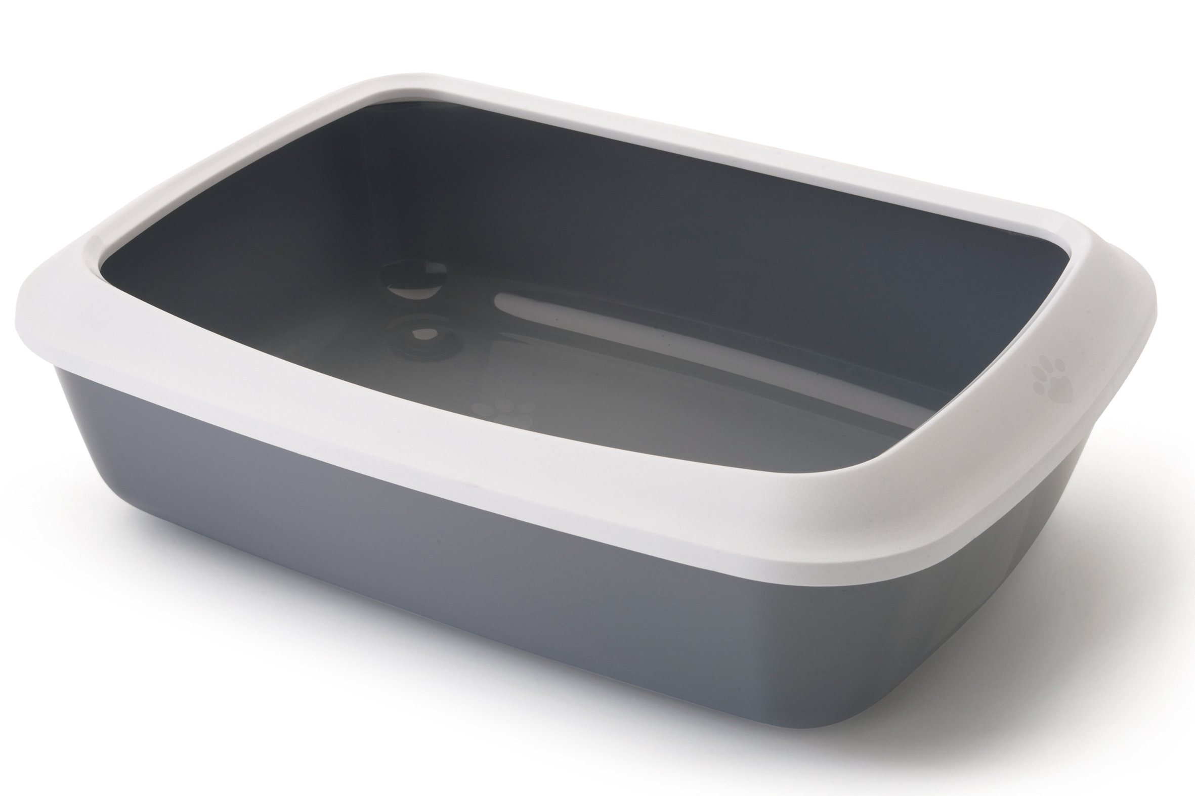 Nobby Isis Cat Litter Tray with Rim, 50 cm, White/Cold Grey by Nobby