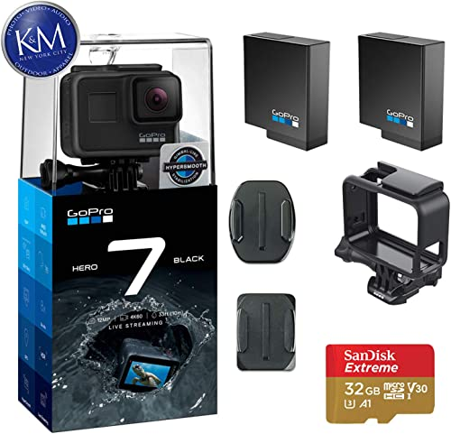 GoPro Hero 7 Black Action Camera w 2 Extra Batteries and 32GB Memory Card
