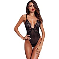 Asvivid Women s Lace V-Neck Spaghetti Strap Lined Lace Floral Sexy Bodysuit  Stretchy Leotard Top 01c485a54