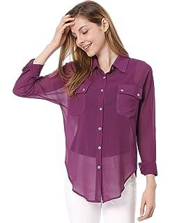 6624b4e4d8e6a Fyriona Women s Button Down Shirt Chiffon Blouse Basic Long Sleeve ...