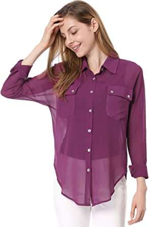 Allegra K Women's Dolman Sleeves Side-Slit Semi Sheer Chiffon Shirt