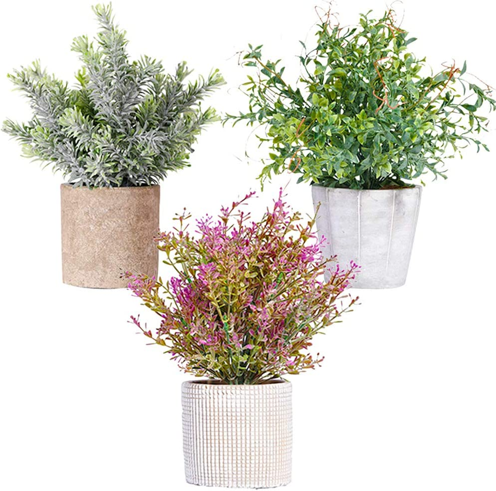 NEW RUICHENG Artificial Plants, Plant Artificial Fake Mini Potted Faux Plant Green Plastic Real Plant Flower in Pot 3 Pack Set Small Potted Artificial Plant for Home Bathroom Office Balcony Desk Decor