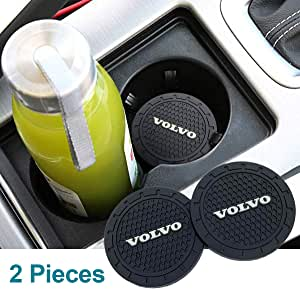 Funsport 2.75 Inch Diameter Oval Tough Car Logo Vehicle Travel Auto Cup Holder Insert Coaster Can 2 Pcs Pack Accessories (Fit Volvo)