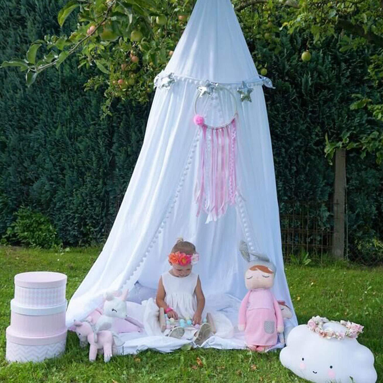 CJJC Elegante Prinzessin Baby Moskitonetz, Einfache Installation Betthimmel Netting Vorhänge Kinderzimmer Dekoration Outdoor Innengebrauch,Weiß