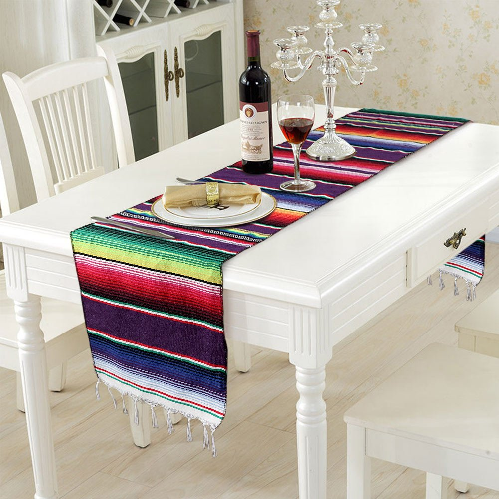OurWarm 14 x 84 inch Mexican Serape Table Runner for Mexican Party Wedding Decorations, Fringe Cotton Table Runner by OurWarm (Image #6)