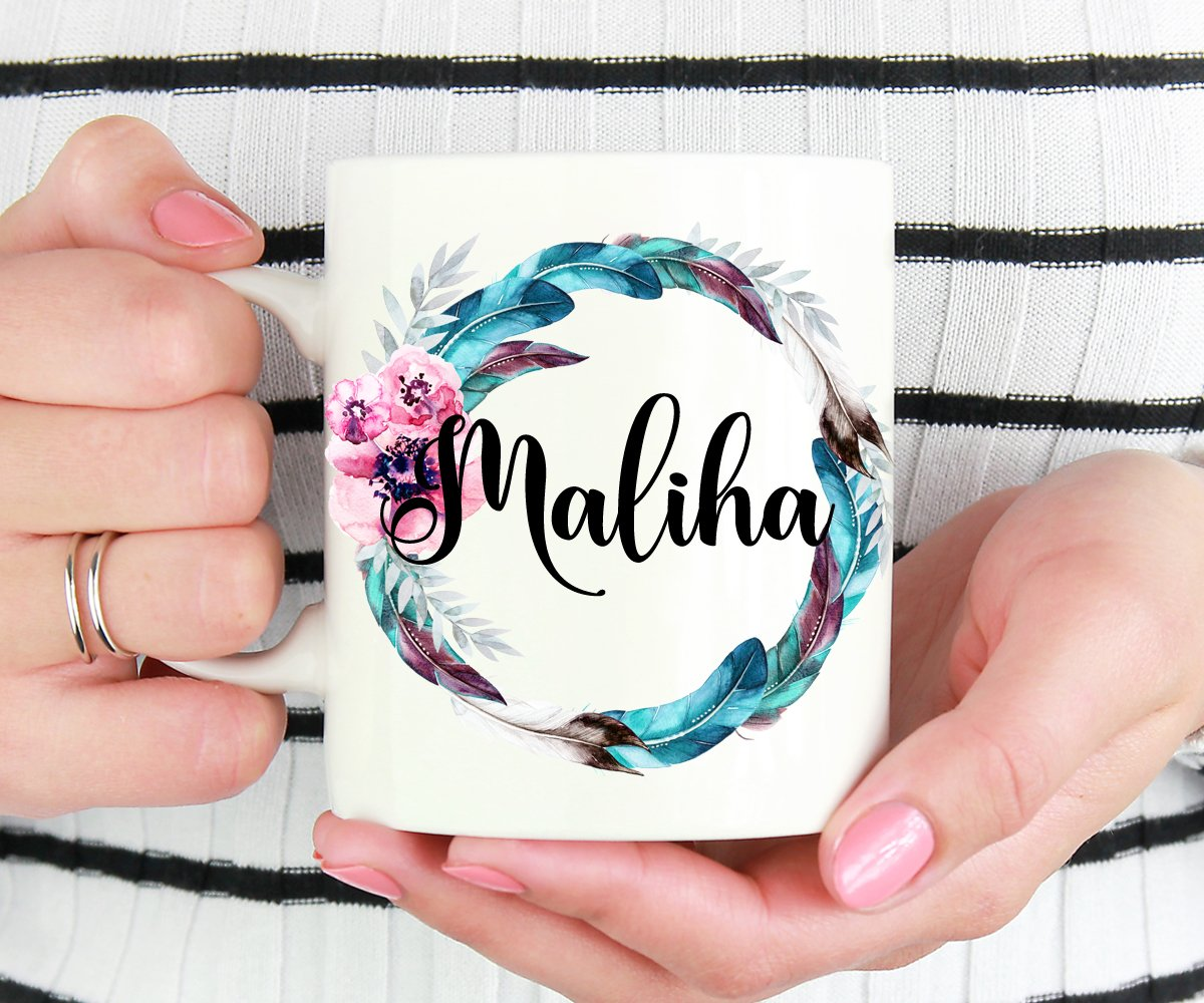 Personalized Name Feathers Mug, Custom Gift For Bridesmaid