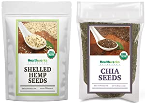 Healthworks Shelled Hemp Seeds Organic (32 Ounces / 2 Pounds) and Chia Seeds Organic Raw (48 Ounces / 3 Pounds)