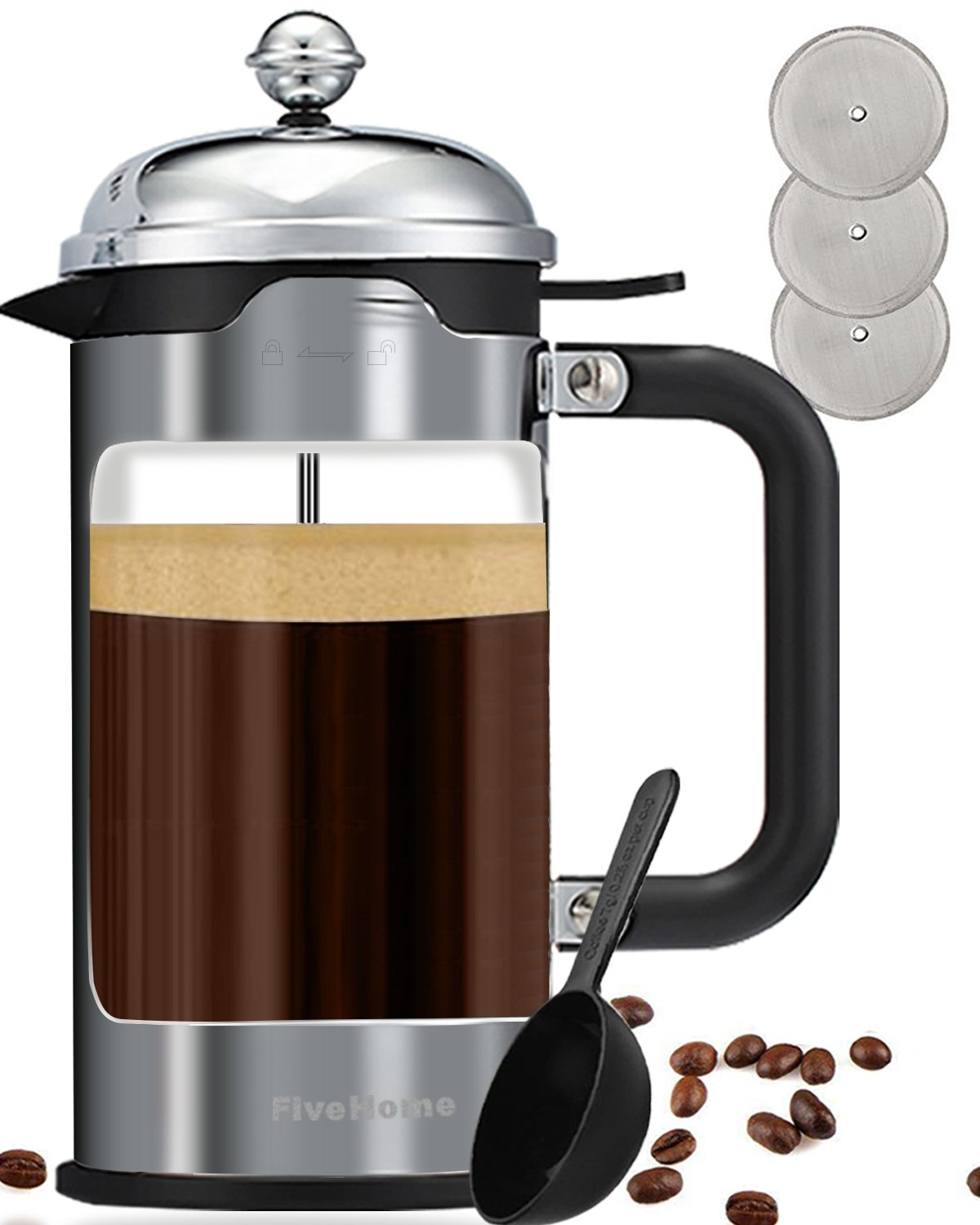 French Press Coffee Maker (1 L/34 oz), FiveHome Luxury Coffee & Tea Makers with 304 Grade Stainless Steel,Heat Resistant Borosilicate Glass,4 Bonus Filter Screen (Platinum) P1