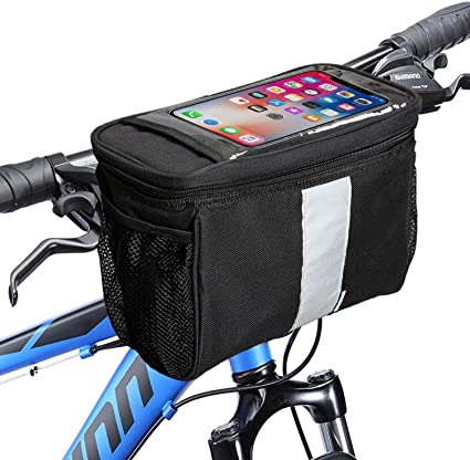 Bike Handlebar Bag Bicycle Pannier Front Tube Basket Outdoor Cycling Reflective
