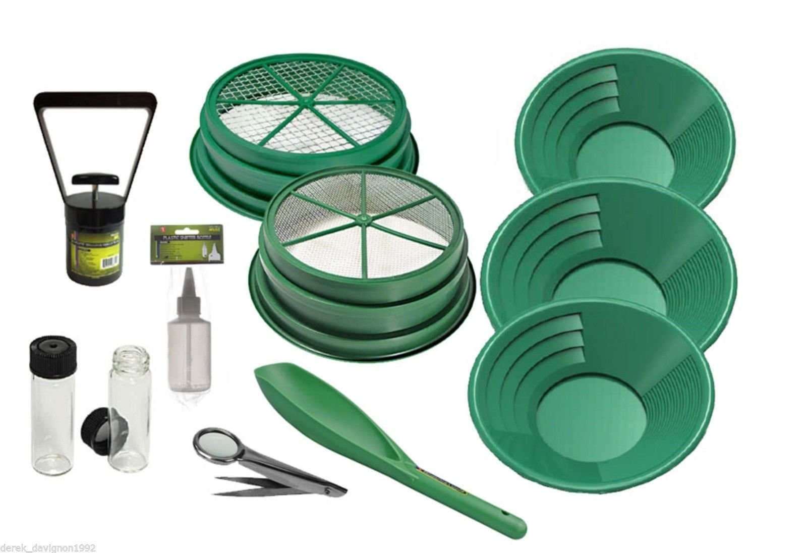 11pc Gold Panning Kit 1/4 & 1/2 Classifiers 14'' 10'' 8'' Green Gold Pans, Sniffer Bottle, 2 Vials, Scoop, Tweezers with Magnifier & Black Sand Magnet