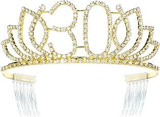 DcZeRong Queen 30 Birthday Tiara Women 30th Birthday Crown Gold Rhinestone Crystal Diamond Crown
