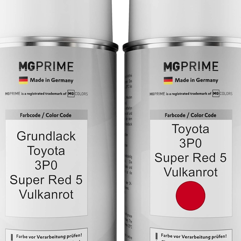 Mg Prime Autolack Sprühdosen Set Für Toyota 3p0 Super Red 5 Vulkanrot Grundlack Basislack Klarlack Spraydose 400ml Auto