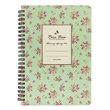 Diseño de flores laterales - Cuaderno en espiral (A5 Viajes Escuela ...
