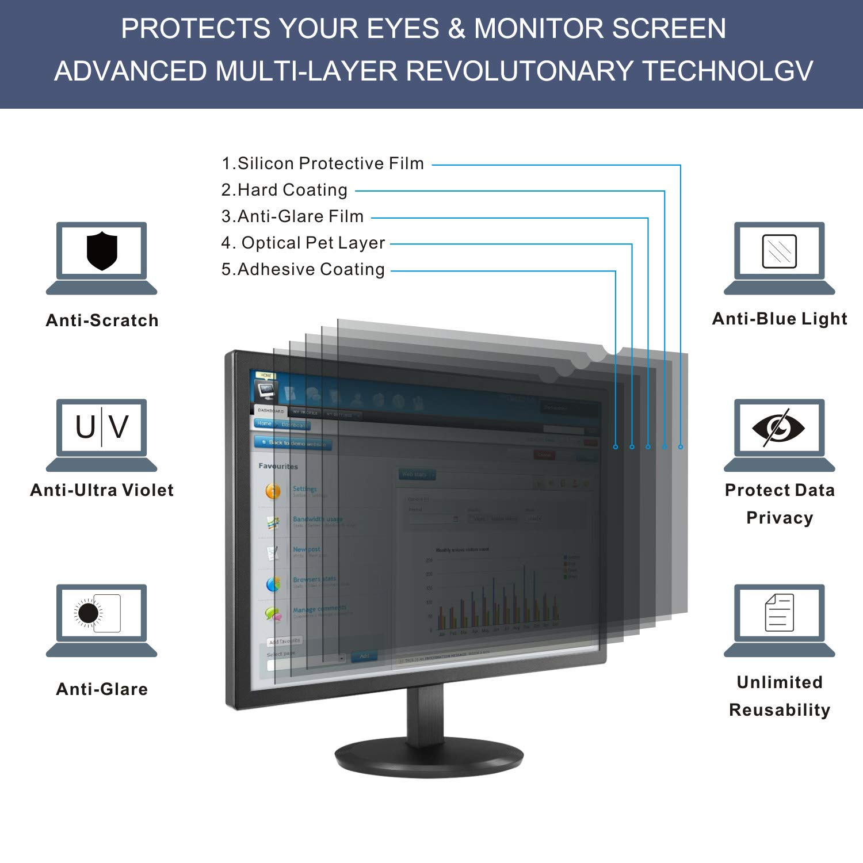 ZOODGO 17 Inch Computer Privacy Filter for 17Square Monitor 5:4 Aspect Ratio Screen Protector Film for Data Confidentiality Anti-Spy Anti-Blue Light Anti-Glare Fuss-Free Installation