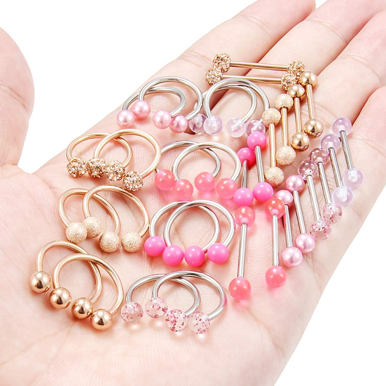 Ftovosyo 32Pcs Nipple Rings 14G Surgical Steel Tongue Nipplerings Barbell Bar Hoop Ring Piercing Jewelry for Women Men 14mm-16mm