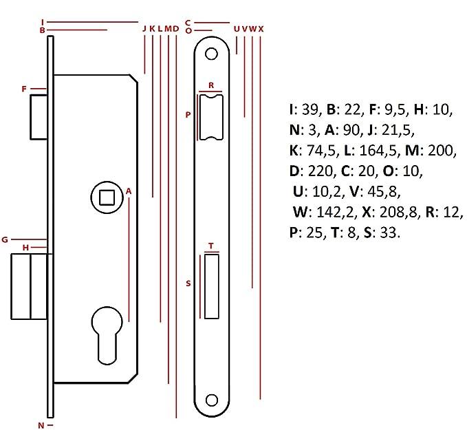 KOTARBAU Einsteckschloss 90//22 BB Gegenplatte Verzinkt Universal Links//Rechts Rohrrahmenschloss Zimmert/ürschloss Innen//Au/ßenbereich Sicherheisschloss