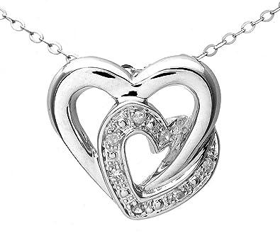 Naava – Collar de mujer de oro blanco (9k) con 7 diamantes, 46 cm