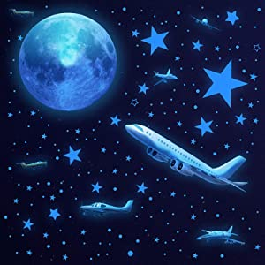 Glow in The Dark Stars,Glow in The Dark Stars for Ceiling and Moon Airplane Wall Decals, 1013 Pcs Ceiling Stars Glow in The Dark Airplane Kids Wall Decors, Perfect for Kids Nursery Bedroom Living Room (Sky Blue)