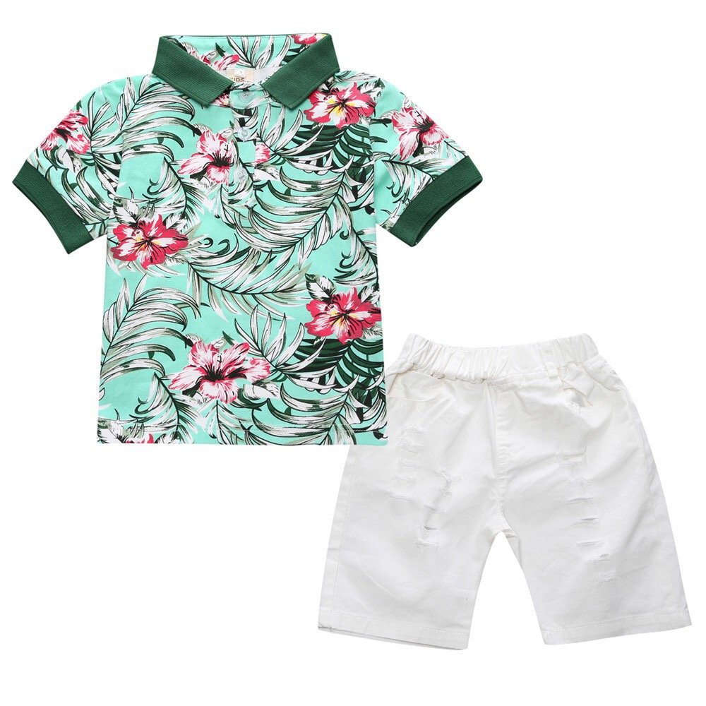 Infant and Toddler Baby Boys Kids Hawaiian Shirt and Ripped Shorts Clothing Set