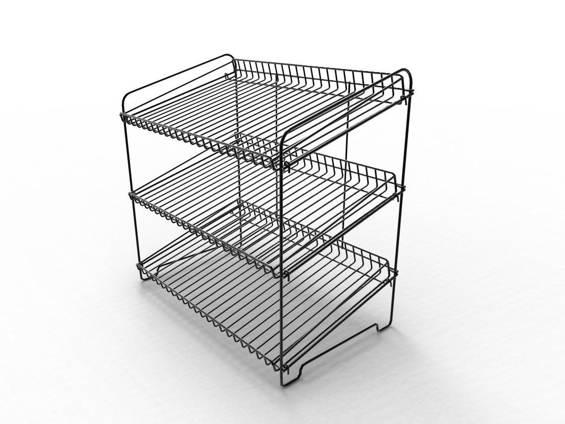 FixtureDisplays 23.0'' x 23.0'' x 13.3'' Wire Rack for Countertop Use with 3 Open Shelves, Black 19396 by FixtureDisplays