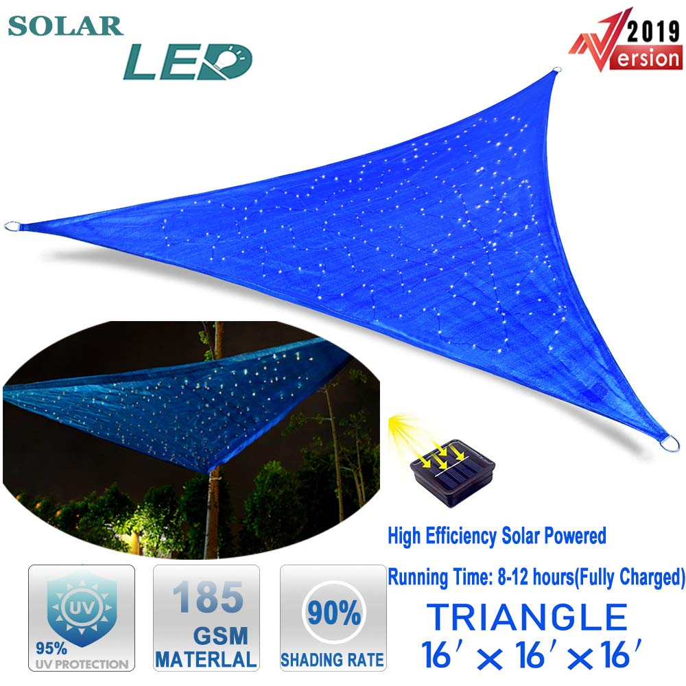 Hsuner Sun Shade Sail 16 x 16 x 16 Triangle Shades for Patio Cover UV Block Canopy with Waterproof Solar Starry Sky Lights for Garden Outdoor Sunshade and Charming Night Warm Yellow Lights