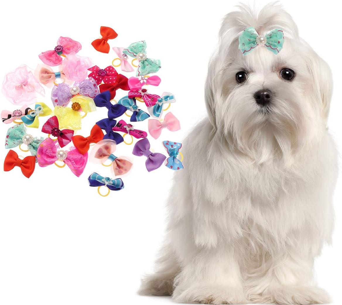 Cute Pet Small Dog Hair Bowknot Topknot Grooming Accessories 11Pcs
