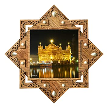 215c89fd288b Buy Poster N Frames Hand-Crafted Decorative Style Wooden Frame with Photo  of Golden Temple Size  16.5X16.5-inch Online at Low Prices in India -  Amazon.in