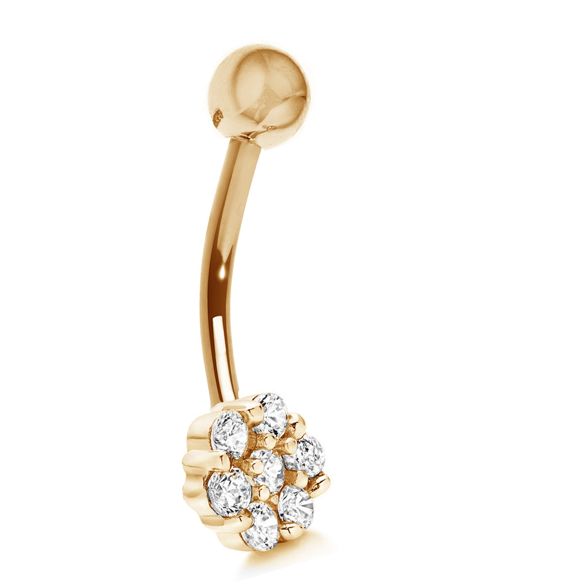 Ritastephens 14k Yellow Gold Cubic Zirconia Flower Belly Button Navel Ring by Ritastephens